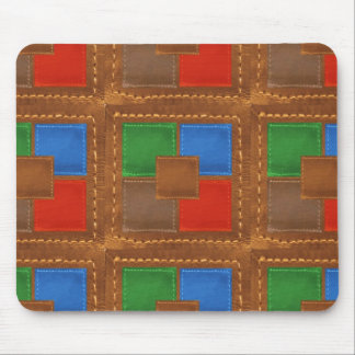 Artisan Elegant Leather Look Squares Patchwork Mouse Pad
