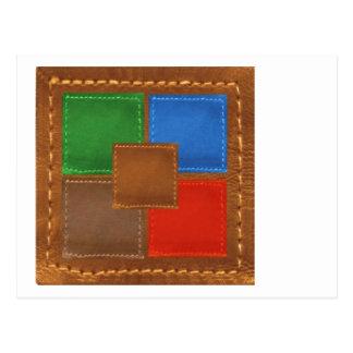 Artisan Elegant Leather Look Squares Patchwork Postcard