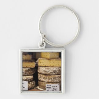 artisan regional french cheeses Silver-Colored square key ring