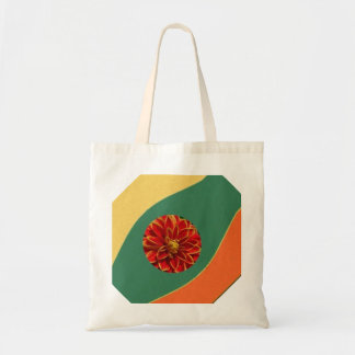 Artisctic Red Dahlia on Green Background Canvas Bags