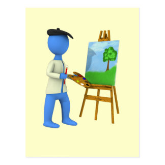 Artist and Easel Postcard
