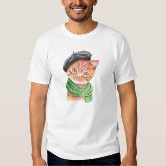 Artist Cat Orange Tabby Cat Hipster Animal Graphic Tshirt