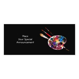 ARTIST COLOUR PALETTE ART SHOW GALLERY EXHIBITION 10 CM X 24 CM INVITATION CARD