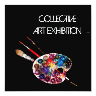 ARTIST COLOUR PALETTE ART SHOW GALLERY EXHIBITION 13 CM X 13 CM SQUARE INVITATION CARD