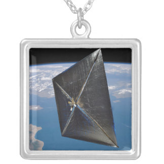 Artist concept of NanoSail-D in space Silver Plated Necklace