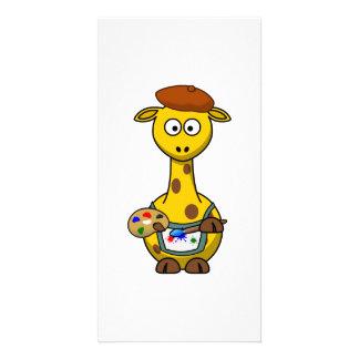 Artist Giraffe Custom Photo Card