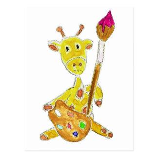Artist Giraffe Postcard