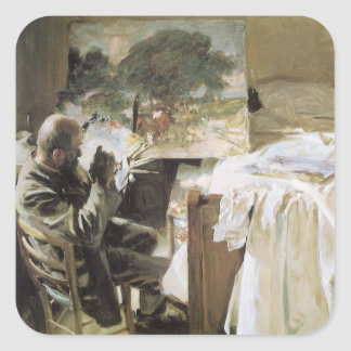 Artist in His Studio by Sargent, Vintage Victorian Square Sticker