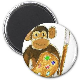Artist Monkey 6 Cm Round Magnet