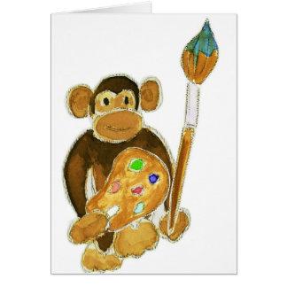 Artist Monkey Greeting Card