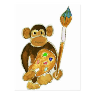 Artist Monkey Postcard