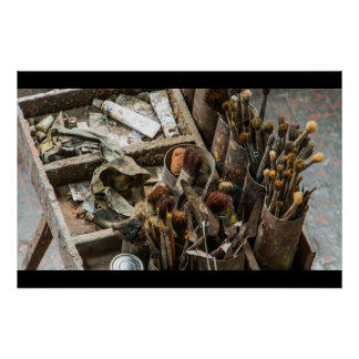 Artist Paintbrushes and Paint in Old Wooden Case Poster