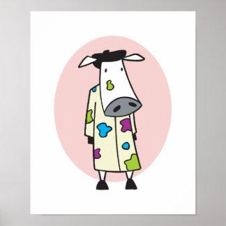 Artist Painter Cow Poster