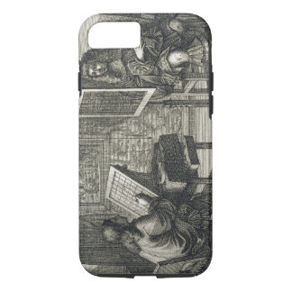 Artist painting a portrait over a grid for accurat iPhone 8/7 case