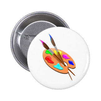 Artist Palette and Brushes 6 Cm Round Badge
