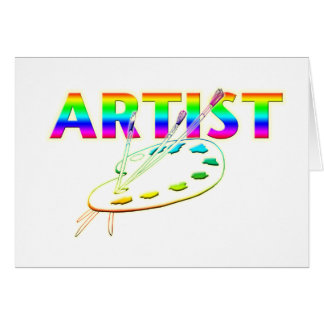 ARTIST PALETTE AND PAINT GREETING CARD