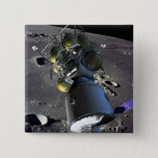 Artist rendition of a new spaceship to the moon 15 cm square badge