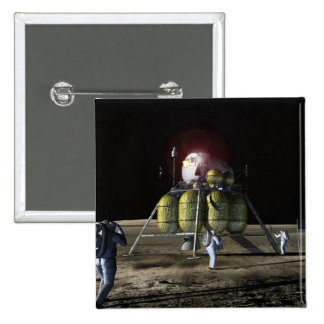 Artist rendition of a new spaceship to the moon 2 15 cm square badge