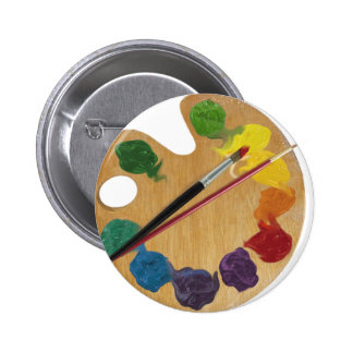 Artist`s palette color wheel 6 cm round badge