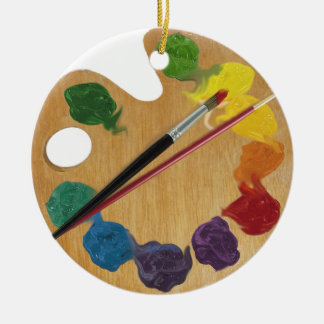 Artist`s palette color wheel round ceramic decoration