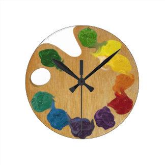 Artist`s palette color wheel round clock