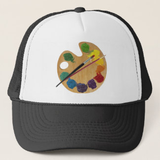 Artist`s palette color wheel trucker hat