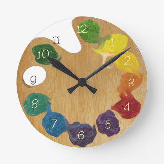 Artist`s palette color wheel with numbers wall clocks
