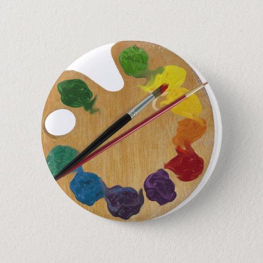 Artist`s palette colour wheel 6 cm round badge