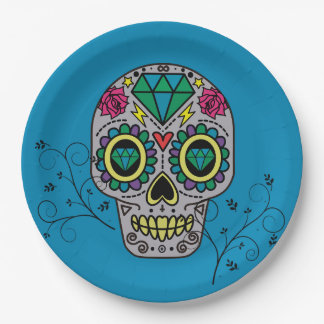Artist Sugar Skull Pattern Mexican Day of the Dead Paper Plate