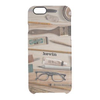 Artist Tools On Wood Texture Clear iPhone 6/6S Case