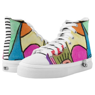 Artistic Abstract Colorful Color Block Unique Fun High Tops