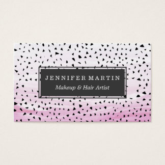 Artistic Abstract Triangles on Pink Watercolor Business Card