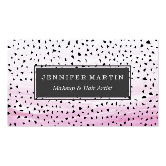 Artistic Abstract Triangles on Pink Watercolor Pack Of Standard Business Cards