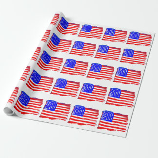 Artistic American Flag Wrapping Paper