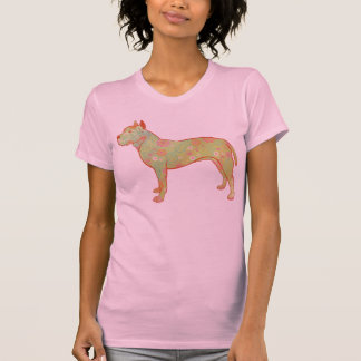 Artistic and Whimsical Pitbull/AmStaff Design T-shirt