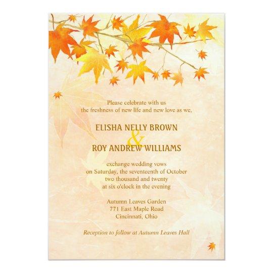 Fall Color Wedding Invitations: Autumn Wedding Invitations