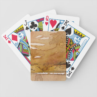 Artistic background watercolor bicycle playing cards