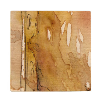 Artistic background watercolor maple wood coaster