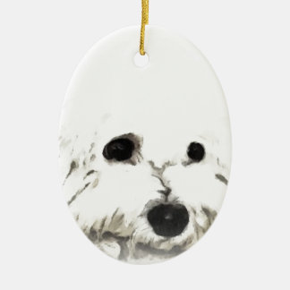 Artistic Bichon head aquarelle Christmas Ornament