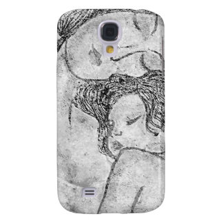 Artistic black and white mother and child design galaxy s4 case