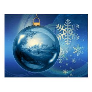 Artistic blue Christmas bauble Postcard