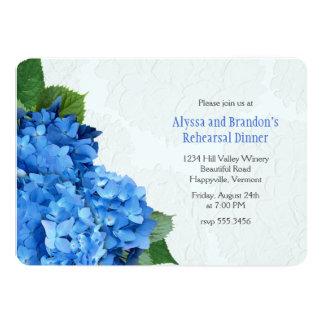 Artistic Blue Hydrangea Wedding Rehearsal Dinner 5x7 Paper Invitation Card
