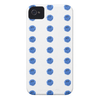 Artistic blue paint splat smiley face iPhone 4 covers