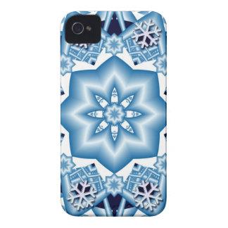 Artistic blue snowflakes iPhone 4 case