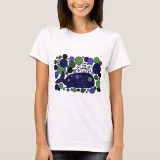 Artistic Blue Sperm Whale Abstract Art T-Shirt