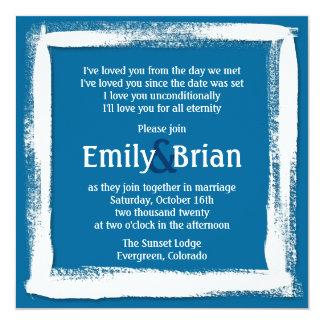 Artistic blue white paint wedding invitations