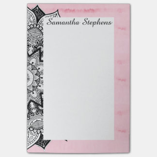 Artistic Boho Hand Drawn Mandala on Pink Tie Dye Post-it Notes