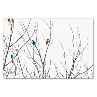 Artistic Bright Birds on Tree Branches Tissue Paper