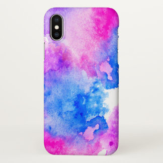 Artistic bright hand painted pink blue watercolor iPhone x case