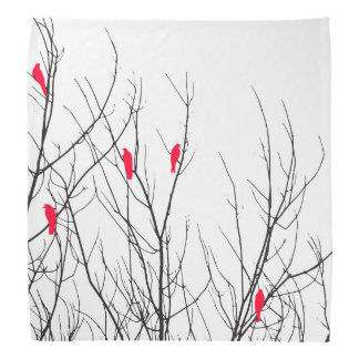 Artistic Bright Red Birds on Tree Branches Bandana